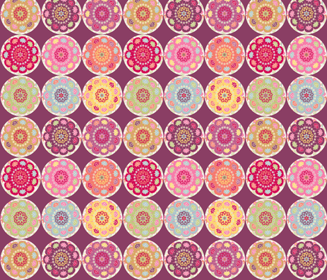 dala_horse_rond_fond_viloline_M fabric by nadja_petremand on Spoonflower - custom fabric
