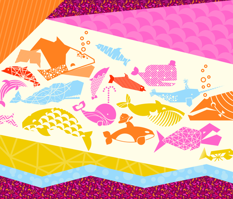 Sealife geometric quilt in pinks