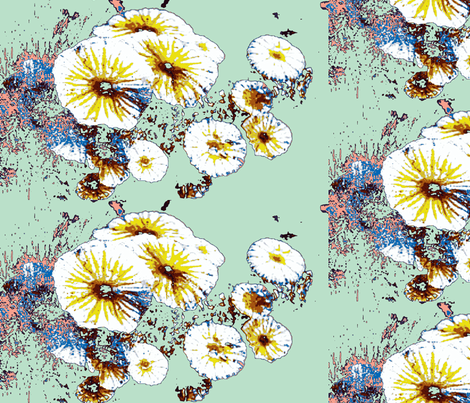 yellow flowers with blue on green fabric by ann-dee on Spoonflower - custom fabric