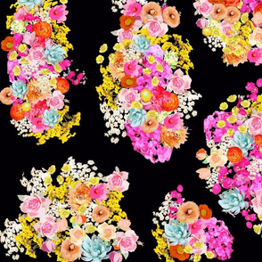 Bright Vintage Inspired Floral on Black - Large Print