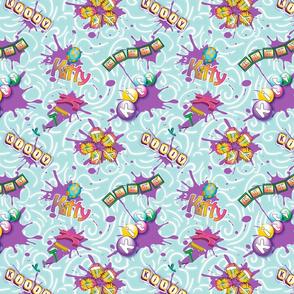 Splash Kitty Teal Background