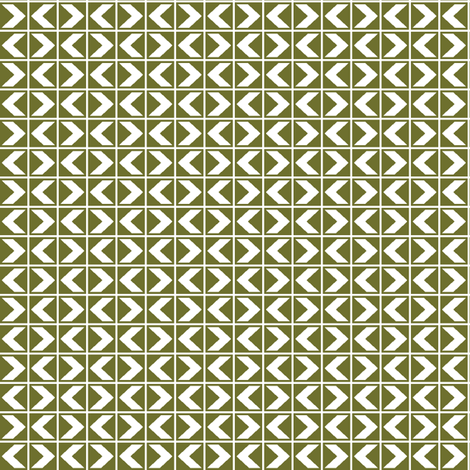 Dim Sum Chevrons - White Rice on Olive fabric by rhondadesigns on Spoonflower - custom fabric