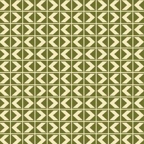 Dim Sum Chevrons - Cream on Olive Green