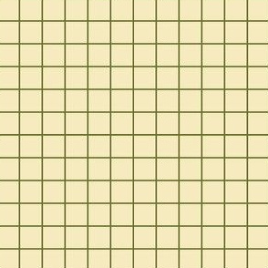 Dim Sum Grid - Olive Green on Cream