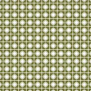 Dim Sum Screen - White Rice on Olive Green