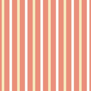 Dim Sum Party Stripe - Wide Pink Ribbons on Cream and White Rice