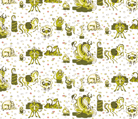 Zodiac Snack (white) fabric by ceanirminger on Spoonflower - custom fabric
