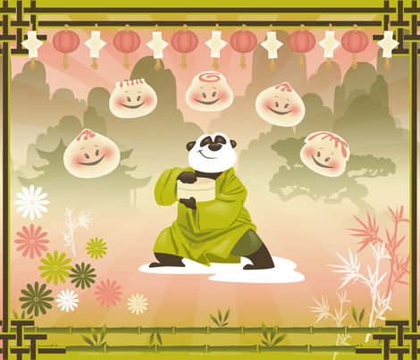 Dim Sum Panda fabric by murals2go on Spoonflower - custom fabric
