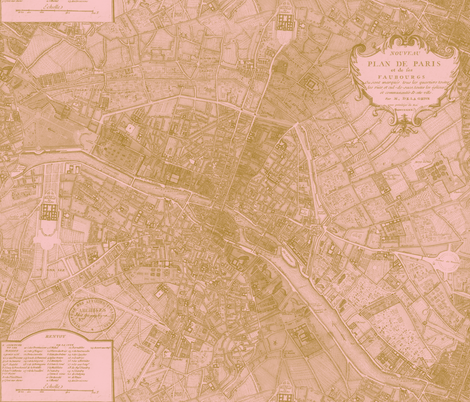 Plan de Paris ~ Paris Map ~ Pink and Gold fabric by peacoquettedesigns on Spoonflower - custom fabric