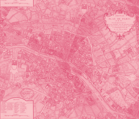 Plan de Paris ~ Paris Map ~ Pink fabric by peacoquettedesigns on Spoonflower - custom fabric