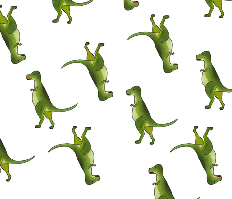 dinosaur on white fabric by izbits_world on Spoonflower - custom fabric