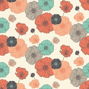 Poppies Floral - Coral Navy Mint on Cream