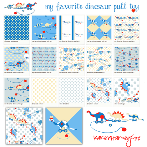 My Favorite Dinosaur Pull Toy fabric sampler fabric by karenharveycox on Spoonflower - custom fabric