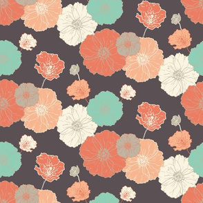 Poppies Floral - Coral Navy Mint on Navy