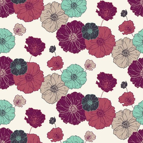Poppies Floral - Fuschia Navy Mint on Cream
