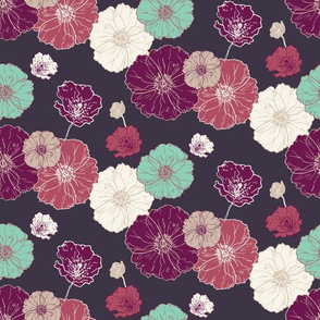 Poppies Floral - Fuschia Navy