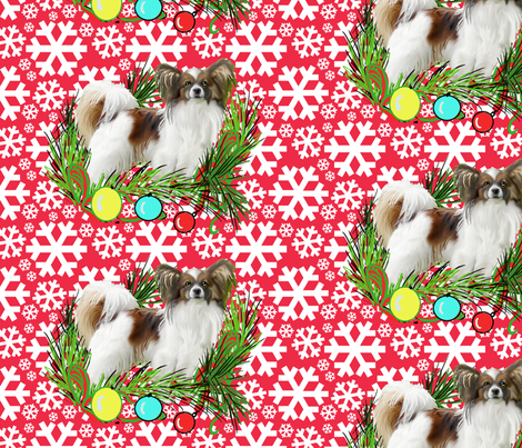 Papillon Christmas fabric by dogdaze_ on Spoonflower - custom fabric