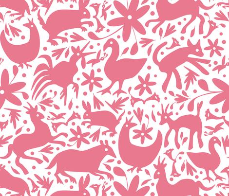 Mexico Springtime: Dusty Rose on White fabric by sammyk on Spoonflower - custom fabric