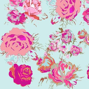 Vintage Rose Floral in Mint, Fuchsia, Magenta, & Blush