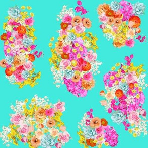Bright Vintage Inspired Floral on Turquoise - Smaller Print