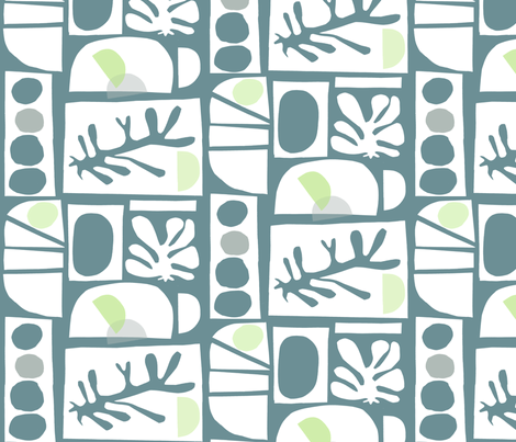 cut #121 (deep teal, spring sweet pea, white, grey)    fabric by pattyryboltdesigns on Spoonflower - custom fabric