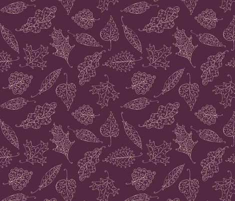 swirling leaves in mauve twilight fabric by weavingmajor on Spoonflower - custom fabric