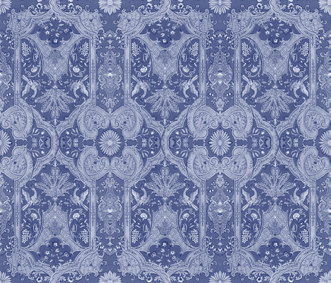 Phoenix Damask ~ Blue  fabric by peacoquettedesigns on Spoonflower - custom fabric