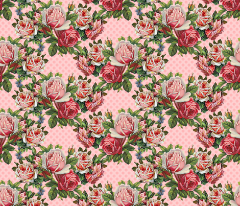 Giant Shabby Roses do the Polka  fabric by vo_aka_virginiao on Spoonflower - custom fabric