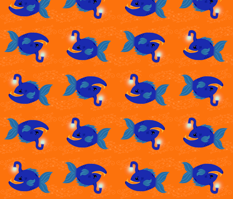 Two Blue Anglers fabric by angelcallie on Spoonflower - custom fabric