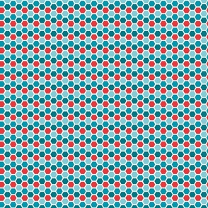patroon_honingraat_petroleumRoodAquaSwatch01