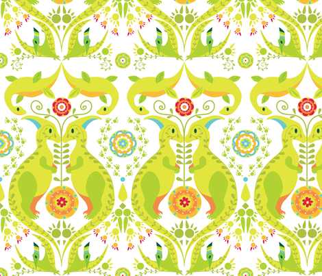 Dinoflorus fabric by elodie-lauret on Spoonflower - custom fabric