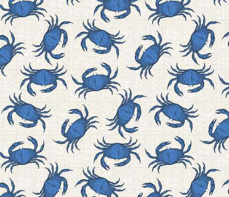 blue crab fabric by littlerhodydesign on Spoonflower - custom fabric