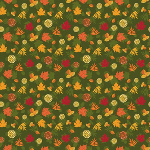 Pattern with leaves and silhouettes