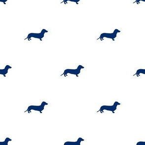 Navy Dachshund Dots on White
