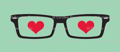 small I love nerds! black and aqua red hearts