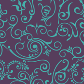 Teal and Purple Floral