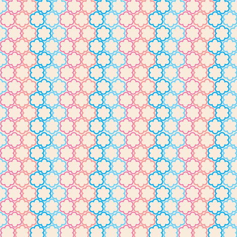 Blue and Pink Scallop Flowers fabric by sewdosomething on Spoonflower - custom fabric