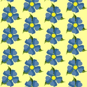 Blue Flowers on Yellow