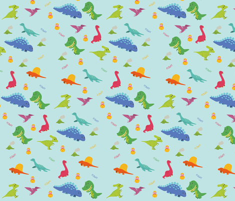 Dino Rawr fabric by sewadorable on Spoonflower - custom fabric