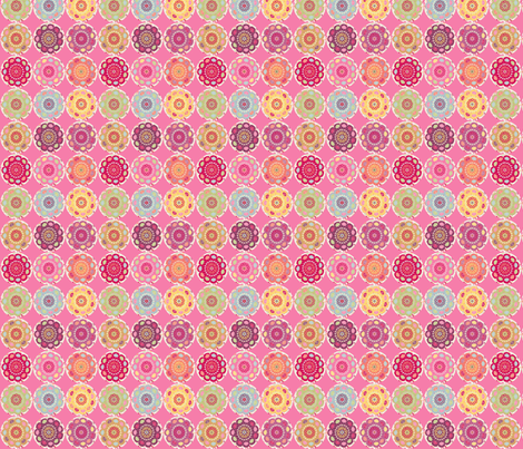 dala_horse_rond_fond_rose_S fabric by nadja_petremand on Spoonflower - custom fabric