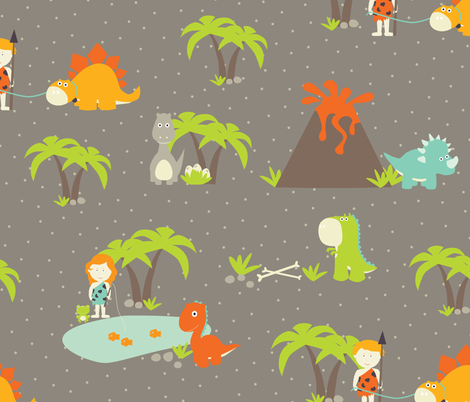 Hanging Out With My Dinosaur Friends fabric by oliveandruby on Spoonflower - custom fabric