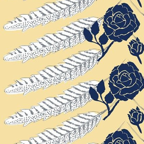 Feather Rose Maize and Navy