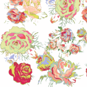 Vintage Floral in Peach, Mint, Coral, Seafoam, and Red