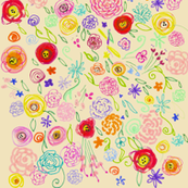 Colorful Floral Doodle on Natural