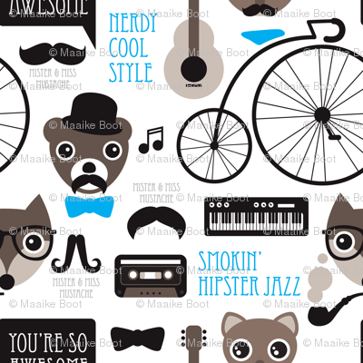 Hipster mustache bicycle friends cool animals kids design
