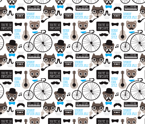 Hipster mustache bicycle friends cool animals kids design fabric by littlesmilemakers on Spoonflower - custom fabric