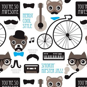 Hipster mustache bicycle friends