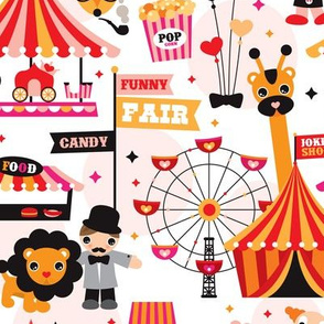 Lion circus show fox play fair big wheel and party design