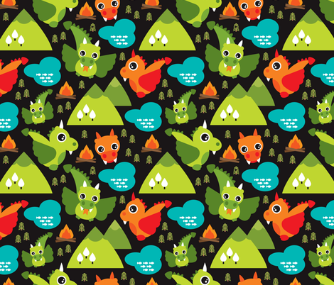 Cute baby dragon fantasy woodland for boys illustration for Cute baby fabric prints