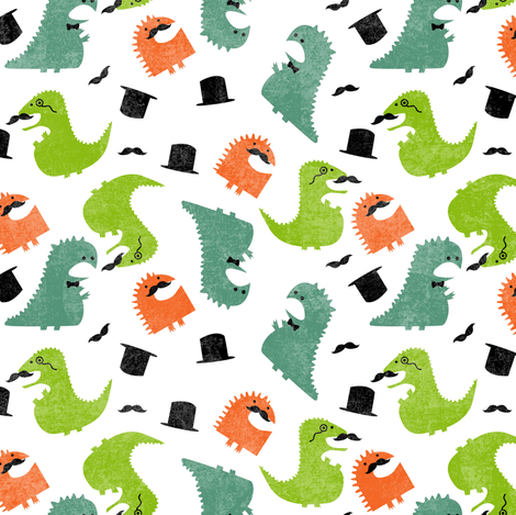 Gentleman Dinosaurs fabric by lusyspoon on Spoonflower - custom fabric